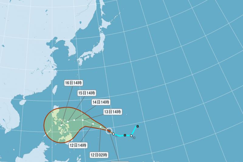 中央氣象局颱風「茉莉」路徑潛勢預測圖,中央氣象局表示影響台灣的機率不大。(取自中央氣象局)