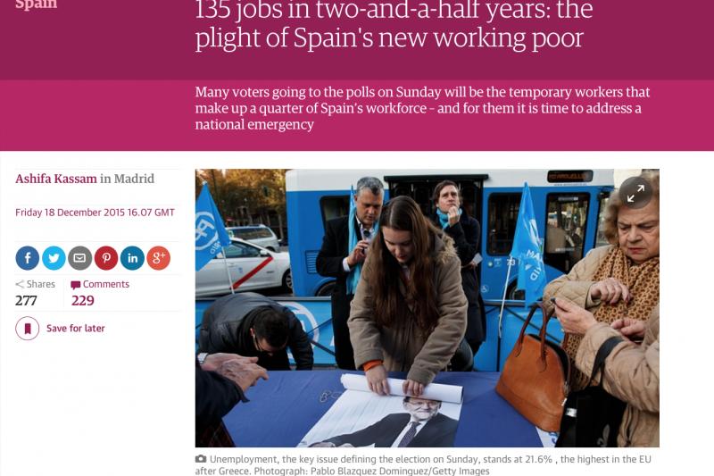 西班牙國會大選20日登場,就業議題成為各黨交手關鍵。