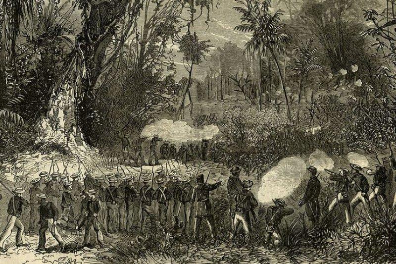 一八六七年六月十三日,美國海軍登陸墾丁與原住民征戰圖。(維基百科)