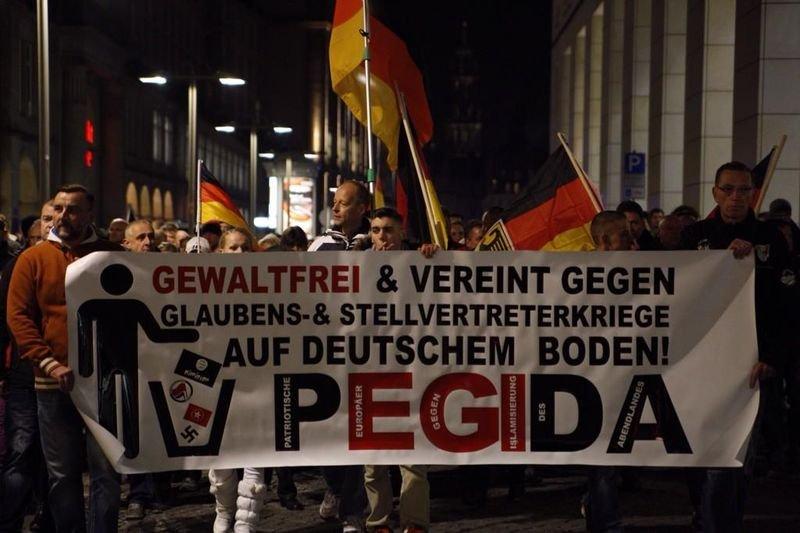 德國極右組織Pegida街頭活動。 (linksunten.indymedia.org 提供)