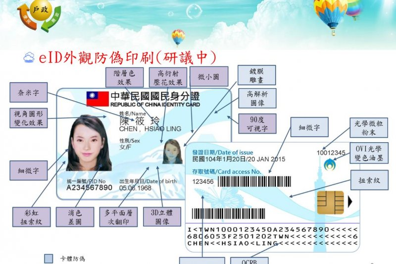 新版晶片身分證有多項防偽設計。(內政部提供)