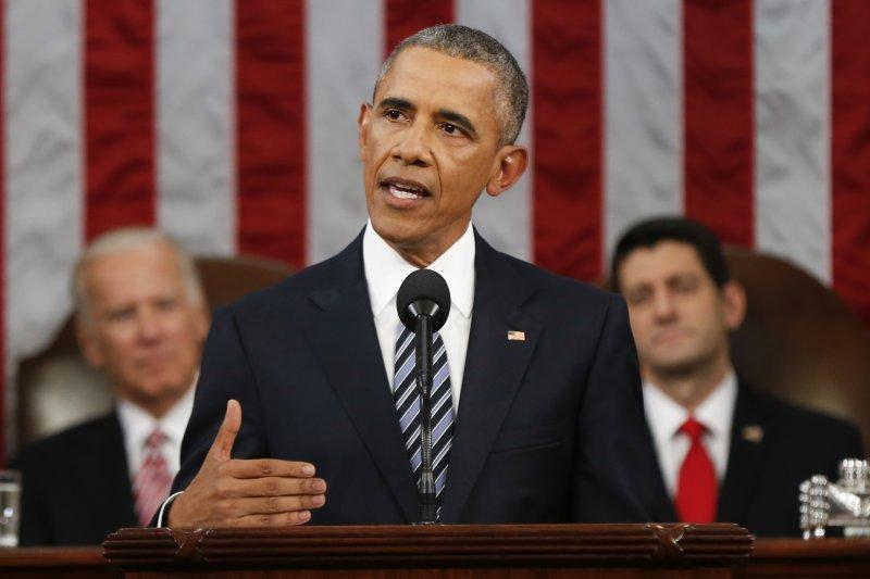 歐巴馬發表2016國情咨文。(美聯社)