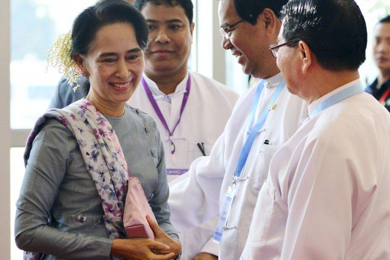 緬甸民主運動領袖、全國民主聯盟(全民盟)主席翁山蘇姬。(美聯社)