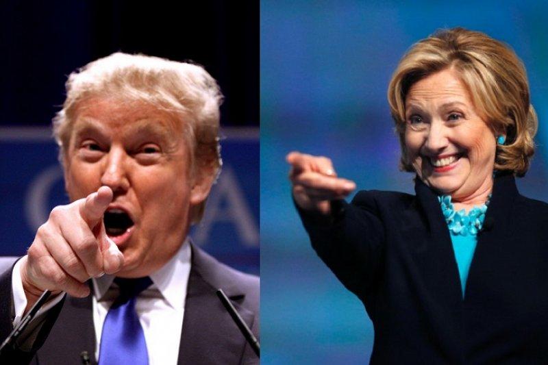 希拉蕊(右)與川普(左)可望成為美國兩大黨的總統候選人。(美聯社)