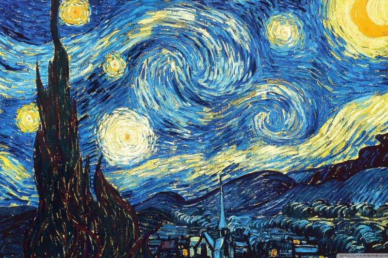 梵谷(Vincent van Gogh)的經典畫作《星空》(La Nuit étoilée)(維基百科)