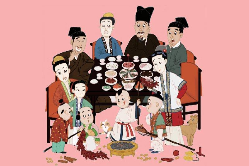 宋朝人的新年餐桌同樣澎湃,主食卻是烏龍麵跟五辛沙拉盤。(圖/時報提供)