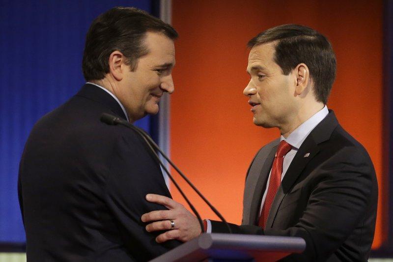 美國共和黨總統參選人、德州聯邦參議員克魯茲(Ted Cruz)與對手佛羅里達州聯邦參議員魯比歐(Marco Rubio)(美聯社)