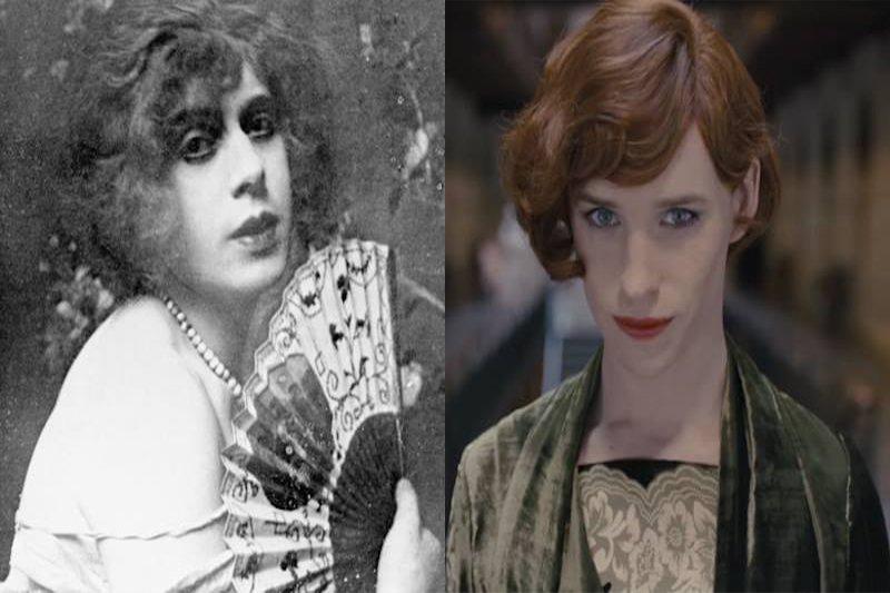 歷史上第一位有記錄的男跨女變性人莉莉・艾爾伯。右為艾迪瑞德曼劇中扮相。(圖左/維基百科、圖右/丹麥女孩預告。風傳媒後製)