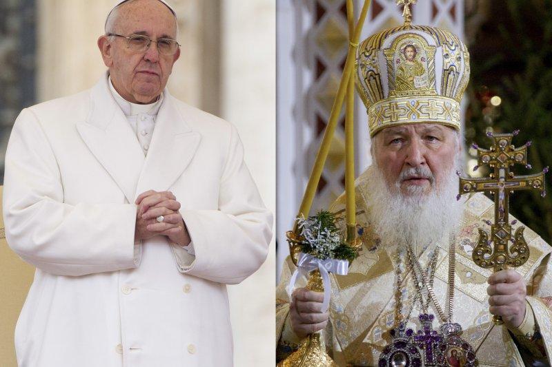 天主教教宗方濟各(Pope Francis)與俄羅斯正教會牧首基里爾(Patriarch Kiril)(美聯社)
