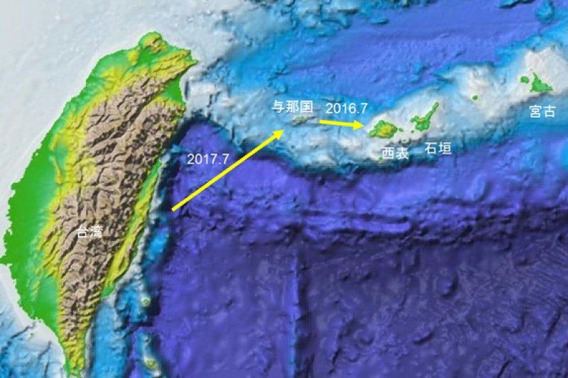 日本國立科學博物館,調查古渡海路線。實驗預定的航路。