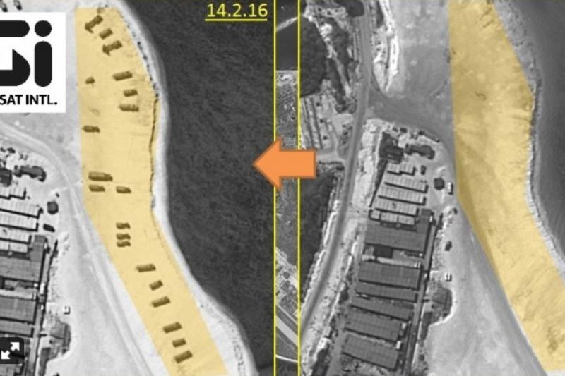 2月14日(左)與2月3日(右)的永興島衛星空拍比較圖。