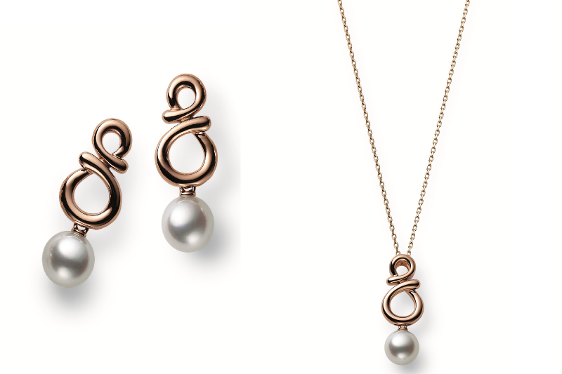珍珠玫瑰金耳環及墜鍊,取材富有寓意「8」字幸運結。(圖/MIKIMOTO提供)