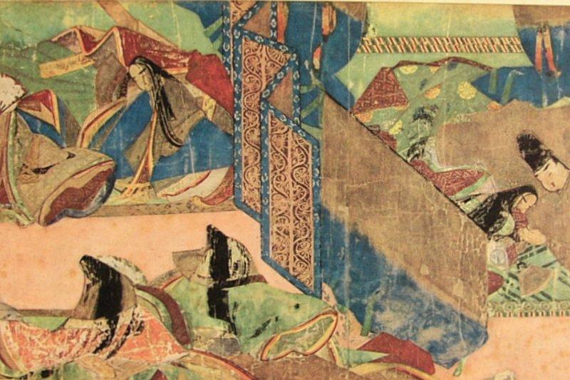《源氏物語》第49回繪卷「宿木」。(圖/天下文化提供)