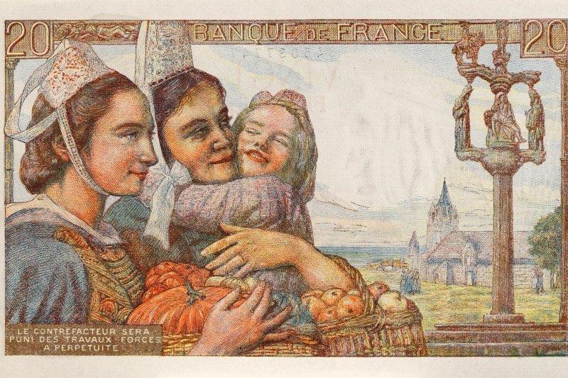 1941年法國發行的法郎以尋常人家作為主題,流露出悠然自得的安適。(圖/天下文化提供)