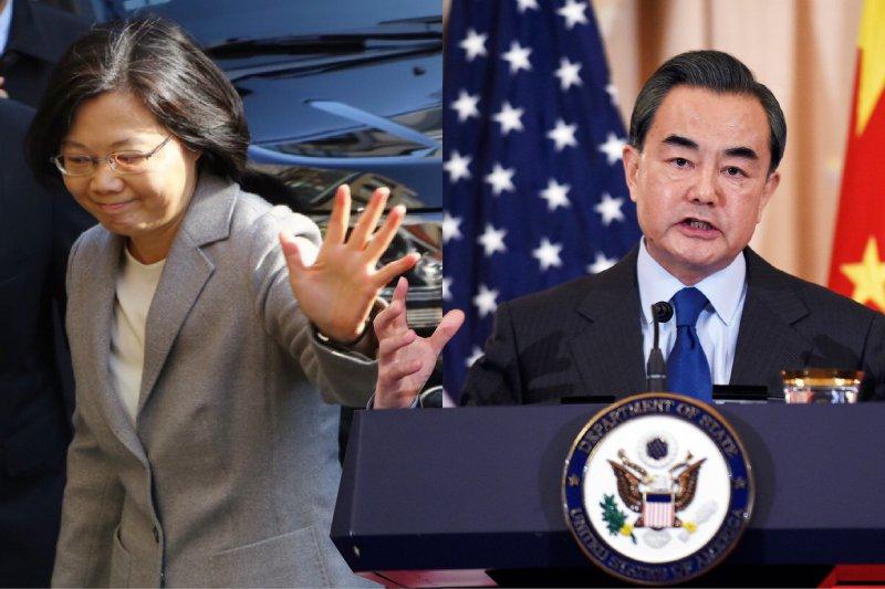 中國外長王毅(右)在美國華府談話強調蔡英文是以「他們的憲政選舉出來的」,蔡英文(左)陣營研判認為,中方釋出訊息希望蔡英文在520總統就職演說中明確回應兩岸關係。(資料照,蔡耀徵攝、美聯社/影像合成:風傳媒)