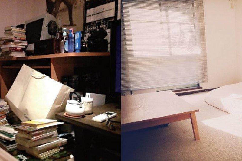 兩張都是佐佐木典士的房間,他徹底擺脫垃圾屋,成為極簡主義者。(圖/三采提供)
