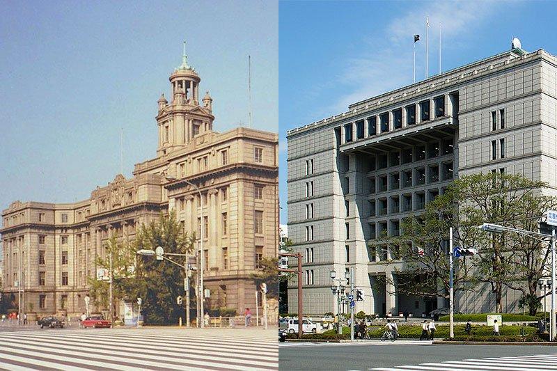 老建築被拆不只台灣人覺得可惜,日本人也覺得不捨。圖為新舊大阪市政廳對照圖。(圖/維基百科,合成/許世哲)