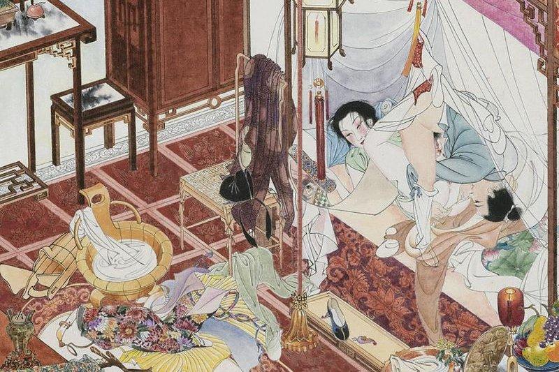 金瓶梅是千古第一奇書,圖為書中角色西門慶與李瓶兒(圖/胡也佛,wikimedia commons)