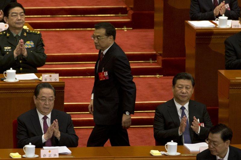 中國12屆全國人民代表大會第四次會議5日在北京人民大會堂揭幕,總理李克強進行報告。(美聯社)