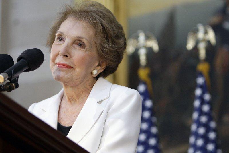 美國前第一夫人、已故前總統雷根(Ronald Reagan)的遺孀南西.雷根(Nancy Reagan)(美聯社)