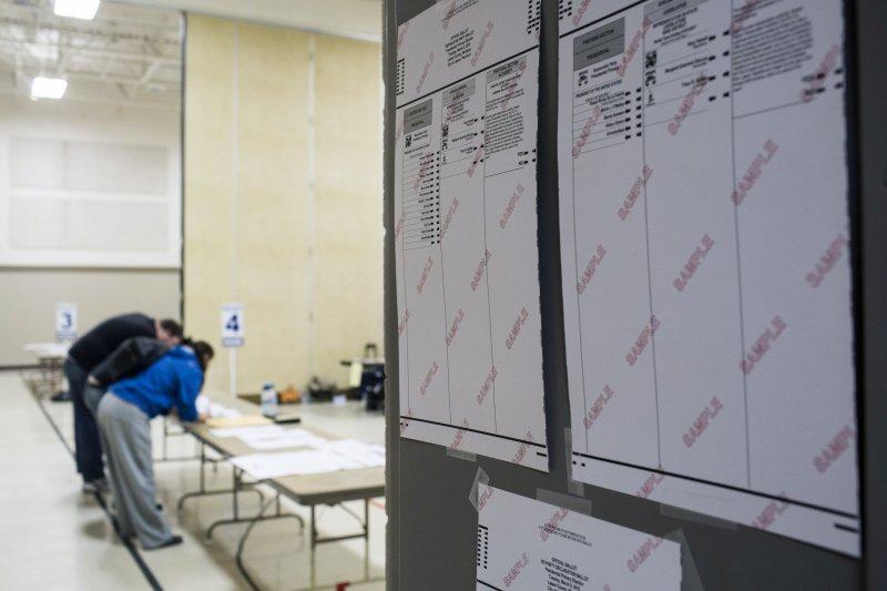 密西根州的初選投票所。(美聯社)