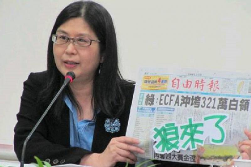 前陸委會主委賴幸媛為ECFA辯護時,國民黨立委避之唯恐不及。(中評社)