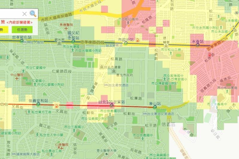 20160313-行政院土壤液化查詢系統,世貿附近為高潛勢區(紅色區塊)。(取自行政院土壤液化查詢系統)