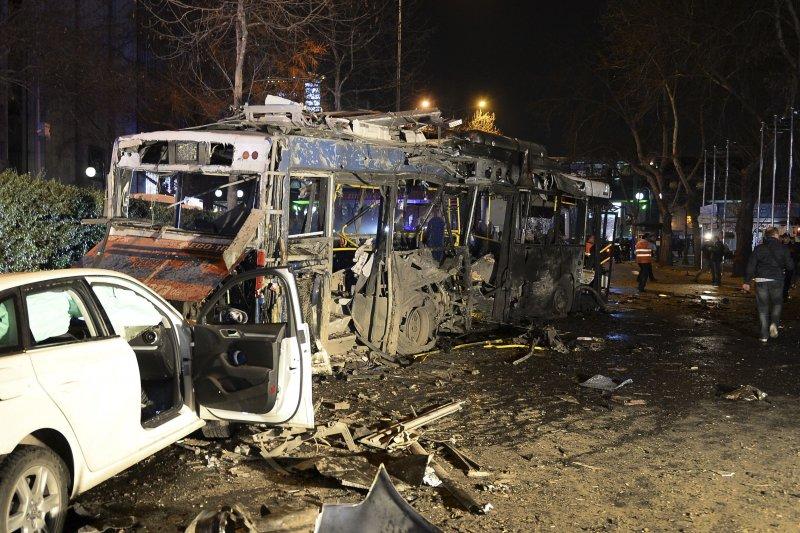 土耳其首都安卡拉13日發生汽車炸彈攻擊事件。(美聯社)