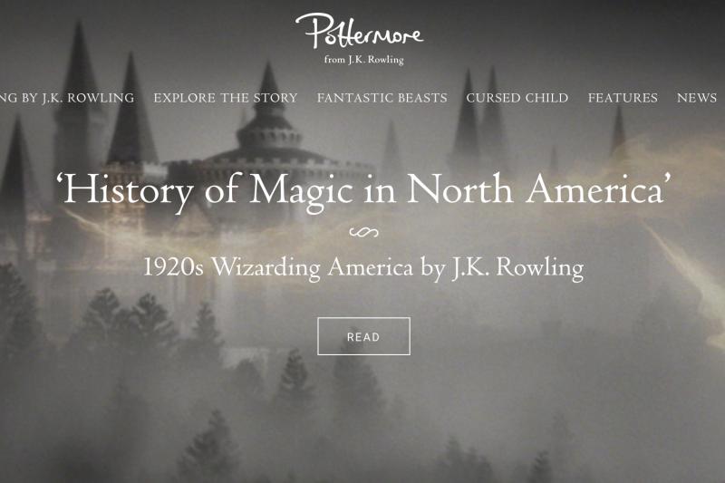 羅琳新作:《北美魔法史》(The History of Magic in North America)系列短篇小說。(翻攝哈利波圖官網Pottermore)