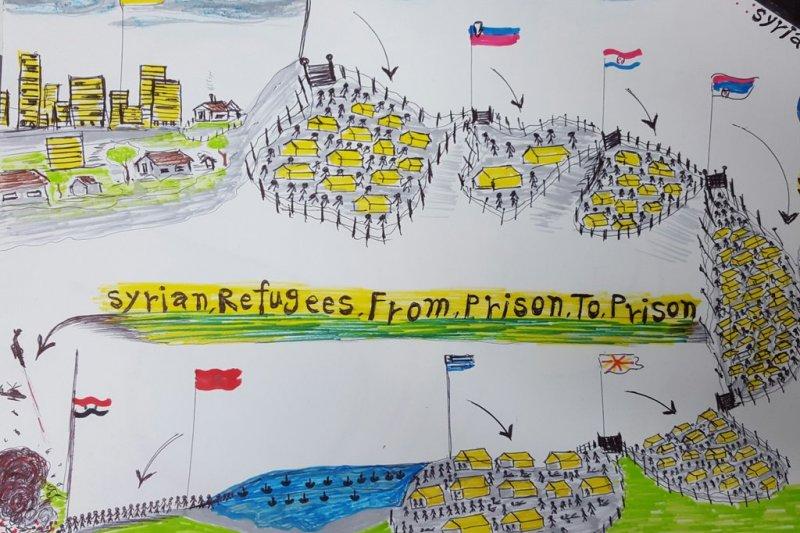 敘利亞兒童畫作,題目為:從這座監獄到下一座監獄。(取自推特)