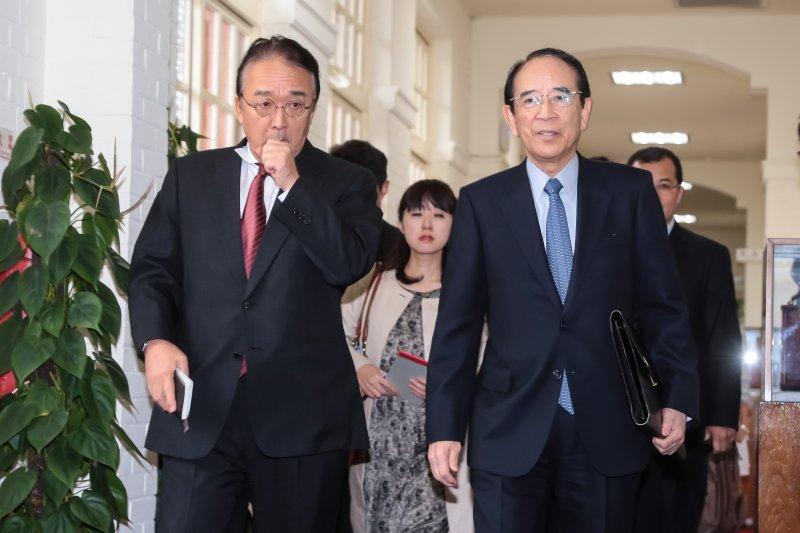 日本交流協會會長大橋光夫(右)16日至立法院拜會蘇嘉全院長。(顏麟宇攝)
