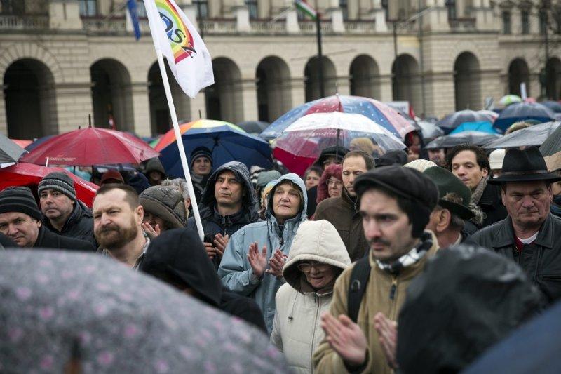 參與反教改抗議運動的匈牙利人民(美聯社)
