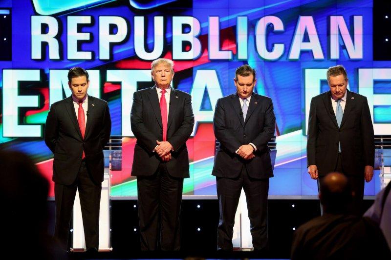 2016美國總統大選315超級星期二黨內初選,共和黨4名參選人(美聯社)