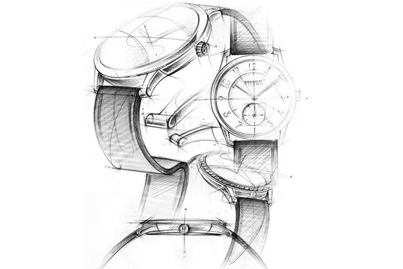 愛馬仕鐘錶創作總監 Philippe Delhotal手繪Slim d'Hermès。(圖/愛馬仕提供)