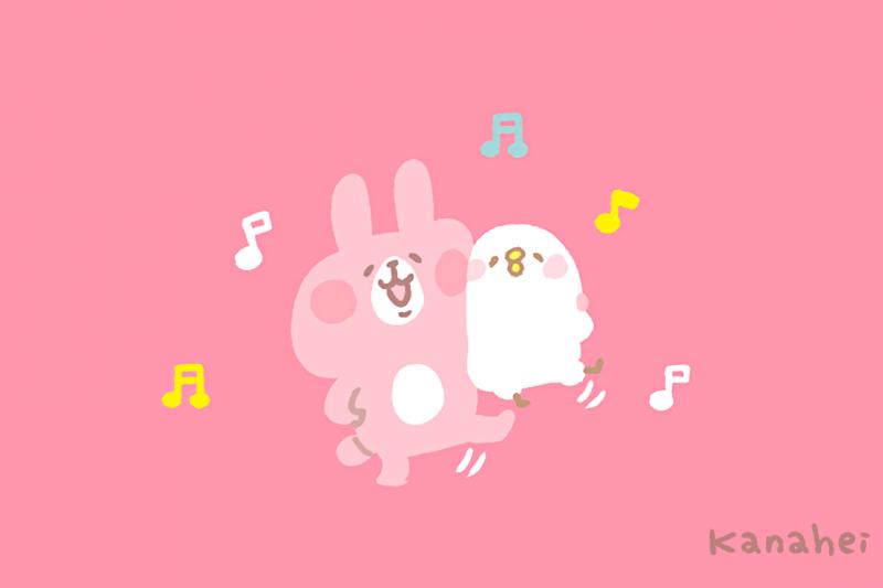 有著超高人氣的粉紅兔兔(Usagi)與P助(Pisuke)貼圖,在全世界引起了旋風。(圖/カナヘイ@facebook)