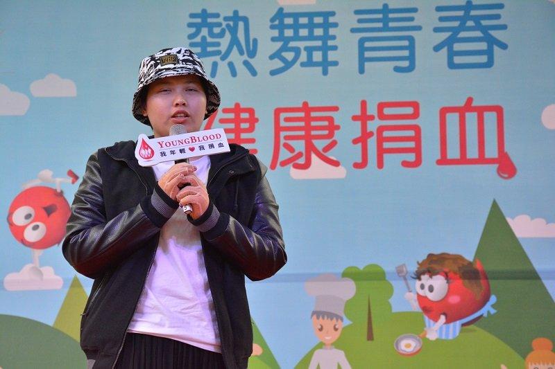 八仙塵爆傷者李芷綾27日出席熱血青年闖關賽活動,感謝捐血人。(取自台灣血液基金會)