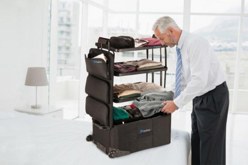 ShelfPack行李箱,就像直接將衣櫃帶出門一樣(圖/ShelfBack)