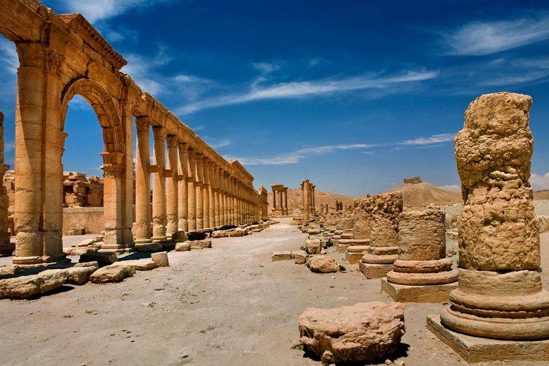 敘利亞官方新聞社SANA今年5月發布的帕米拉古城資料照。(美聯社)