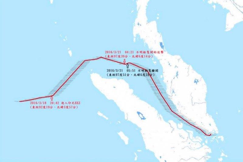 針對我國漁船遭印尼公務船槍擊事件,漁業署表示印方武力過當。圖爲聖德財號漁船3月18日至3月24日VDR航跡圖。(取自漁業署網站)