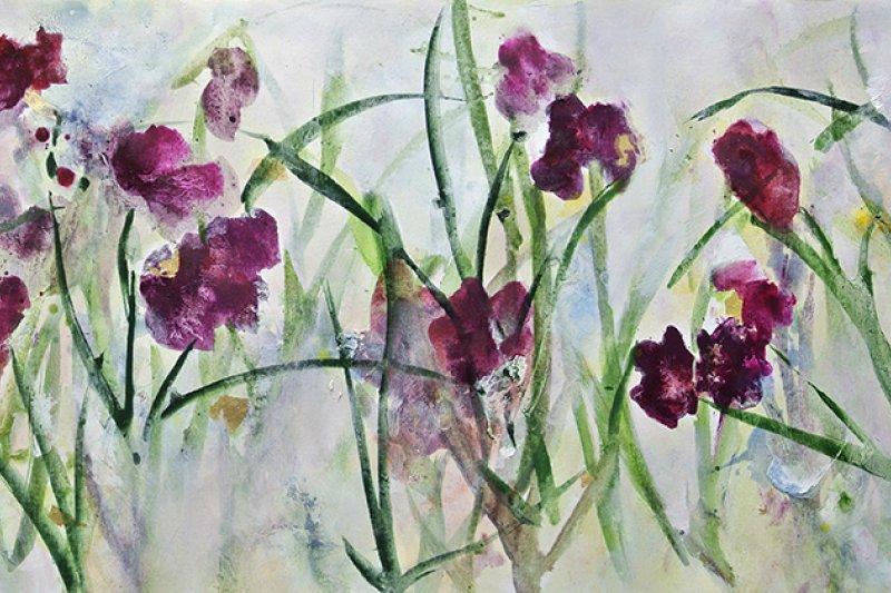 《原來紫鳶紅開遍》,油畫,244x53cm