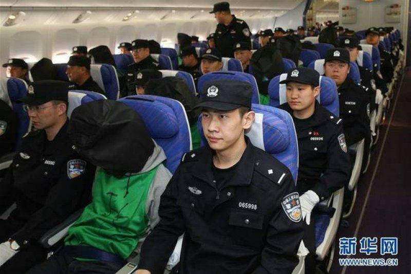 肯亞詐騙案中45名台灣人,被遣送到中國。(新華社)