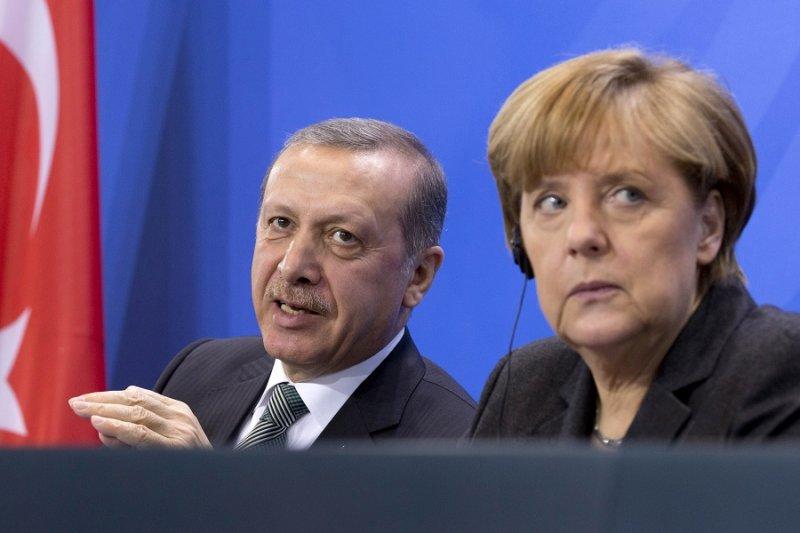 土耳其總統艾爾多安(左)及德國總理梅克爾(右)(美聯社)