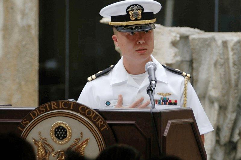 涉及間諜案的美國海軍台裔飛官林介良(Edward C. Lin)(美聯社)