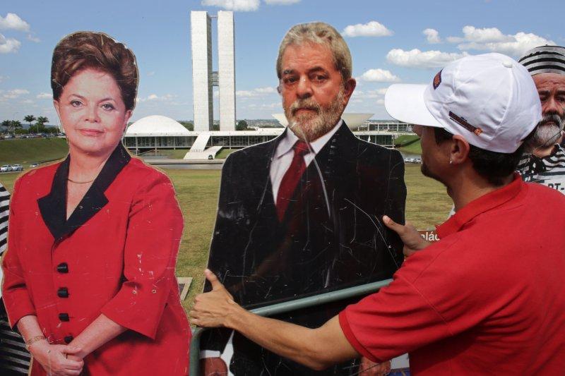 巴西總統羅賽芙與前總統魯拉(美聯社)