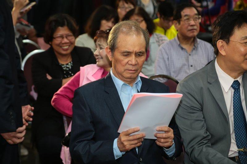 前監察委員黃煌雄出席財團法人台灣民意基金會成立茶會。(顏麟宇攝)