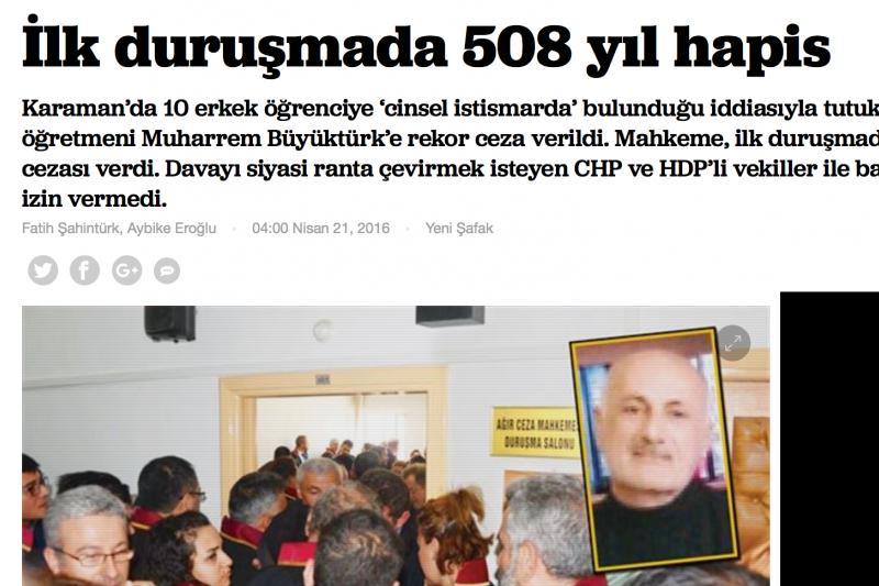 孌童男教師案在土耳其被廣為報導。翻攝網路)
