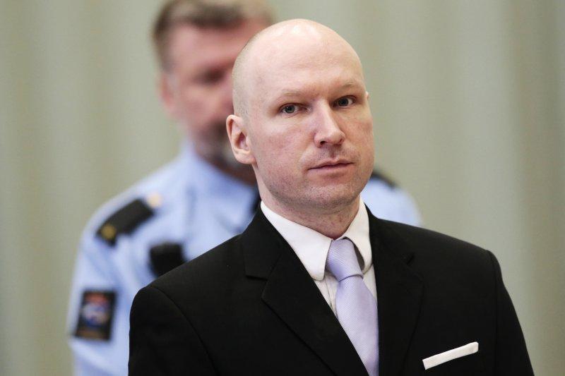 身背77條人命的2011年挪威大屠殺兇手布雷維克(Anders Behring Breivik)。(美聯社)