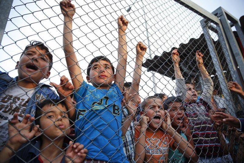 土耳其難民營中的兒童。(美聯社)