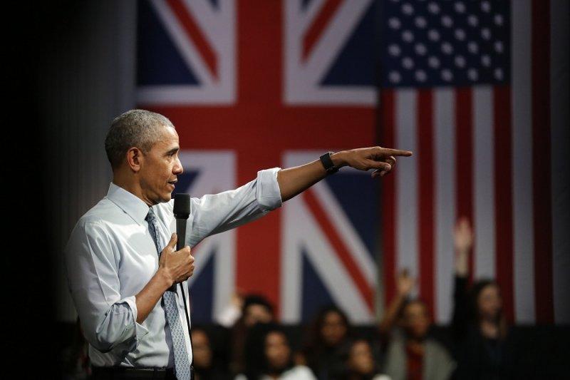 美國總統歐巴馬23日於倫敦發表演說(美聯社)