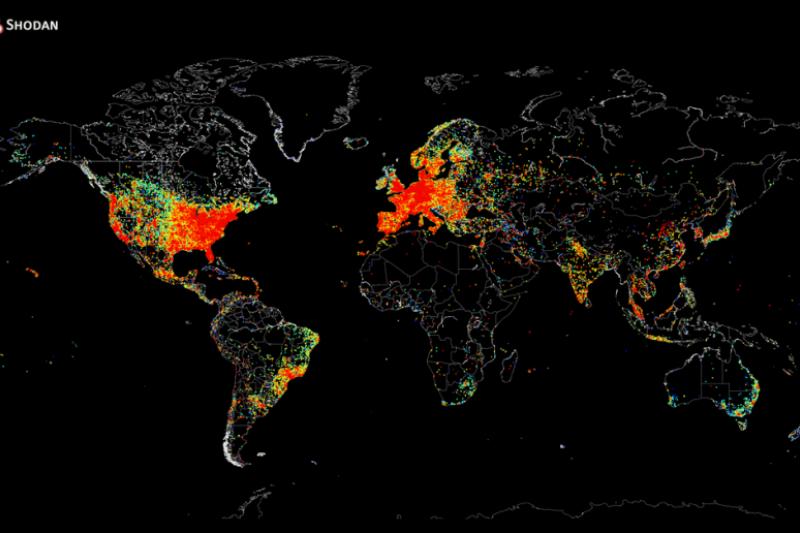 這張地圖顯示了全世界連接了互聯網的電子設備。